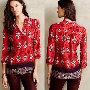 Maeve Woodland Walk Tribal Button Front Top Size 4